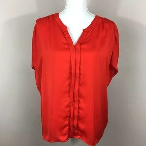LOFT Red Satin Cap Sleeve Button Down Blouse